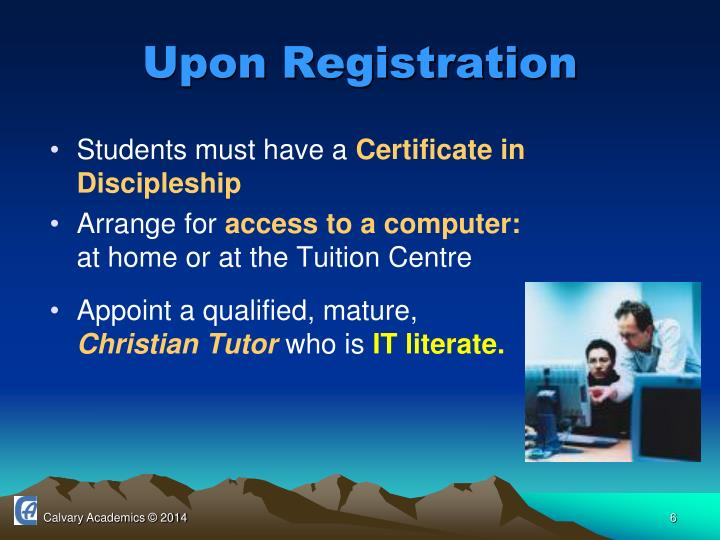 Upon Registration