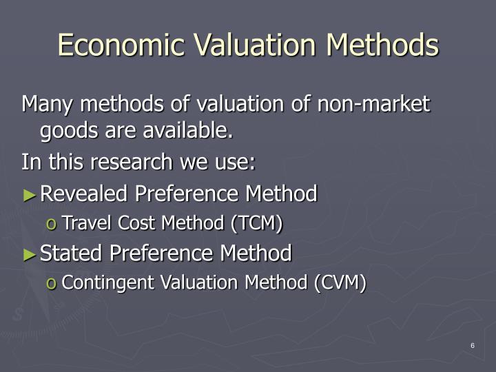 Economic Valuation Methods