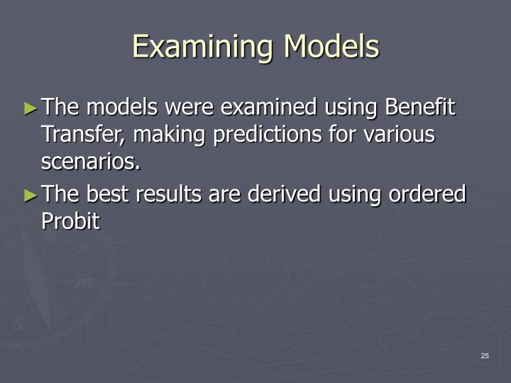 Examining Models