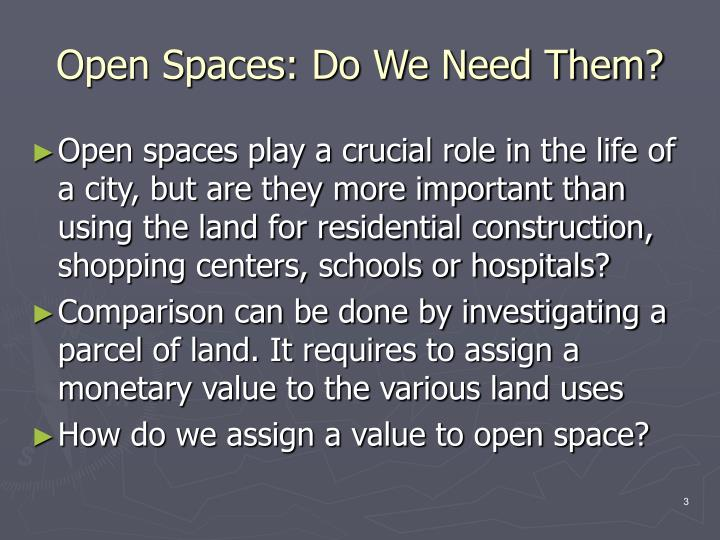Open Spaces: Do We Need Them?