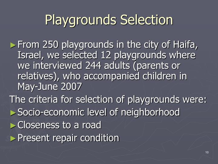 Playgrounds Selection