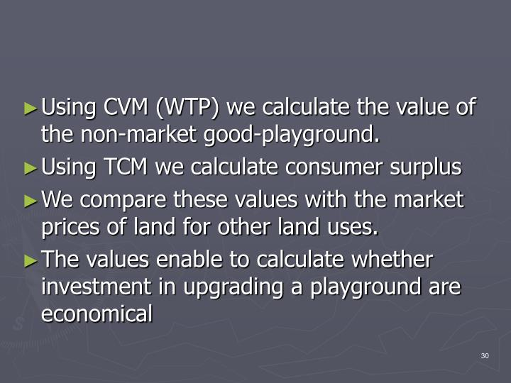 Using CVM (WTP) we calculate the value of the non-market good-playground.