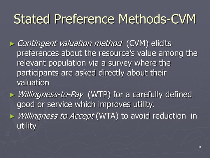 Stated Preference Methods-CVM