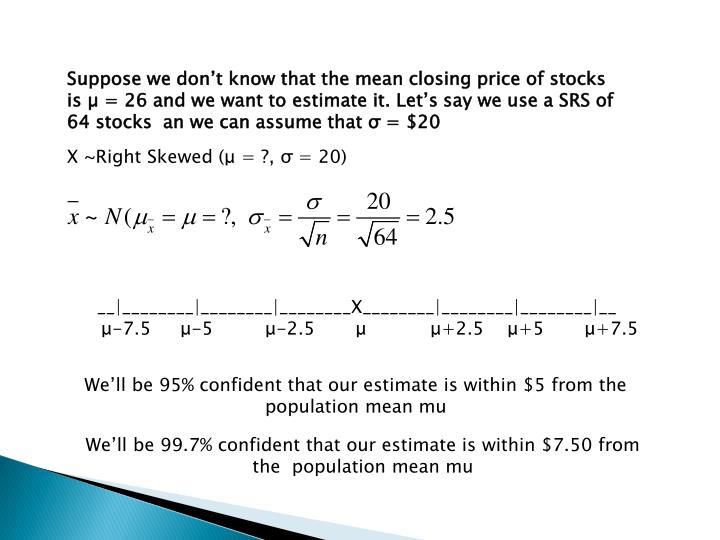 Suppose we don't know that the mean closing price of stocks is µ = 26 and we