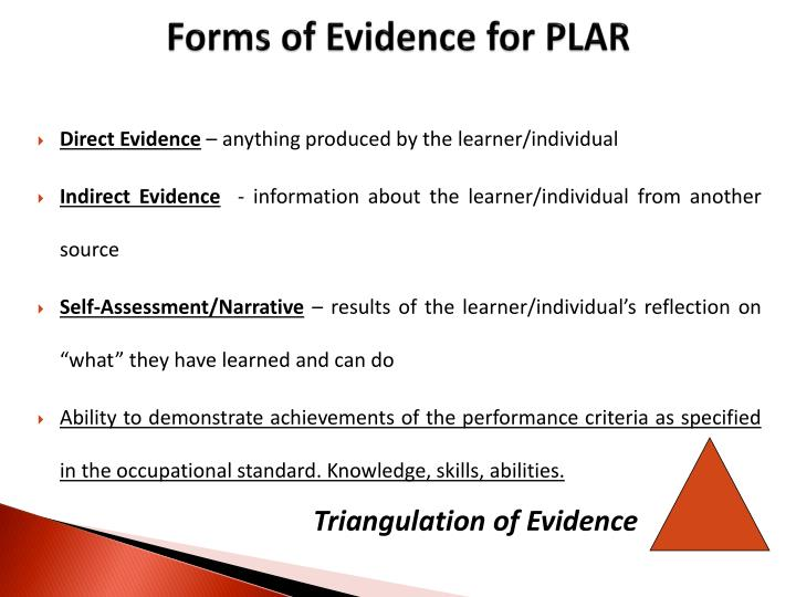 Forms of Evidence for PLAR