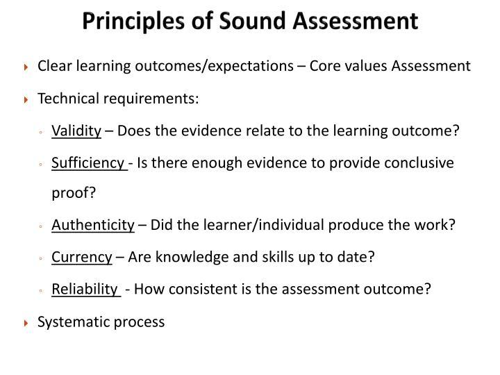 Principles of Sound Assessment
