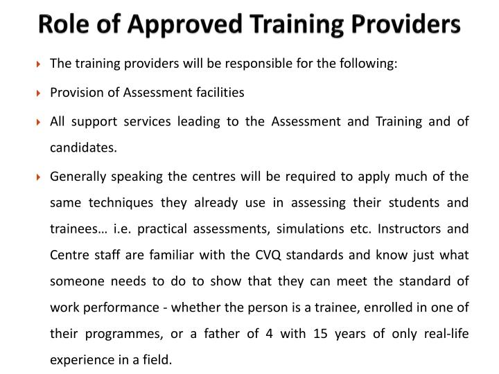 Role of Approved Training Providers