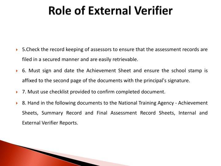 Role of External Verifier