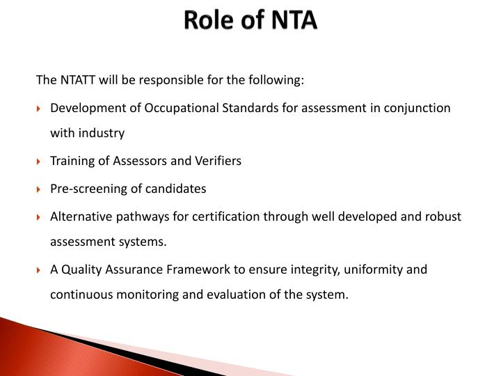 Role of NTA
