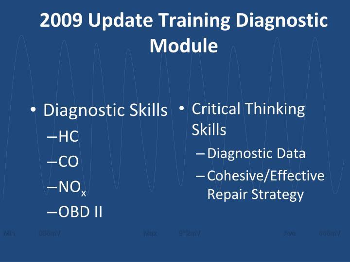 2009 Update Training Diagnostic Module