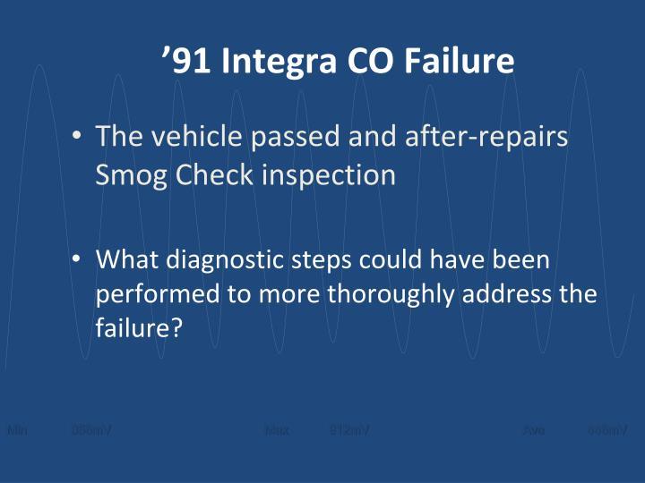 '91 Integra CO Failure
