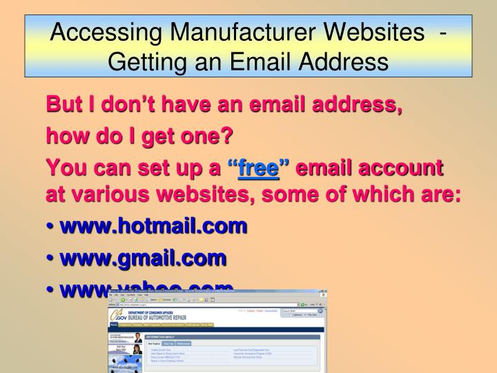 Accessing Manufacturer Websites  - Getting an Email Address