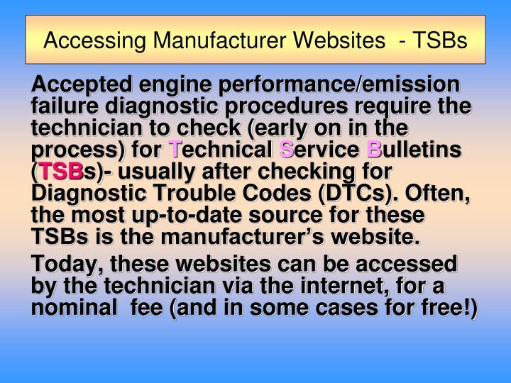 Accessing Manufacturer Websites  - TSBs