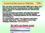 accessing manufacturer websites tsbs3