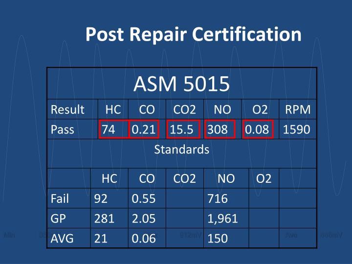 Post Repair Certification