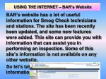 using the internet bar s website
