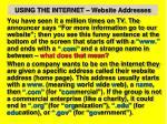 using the internet website addresses