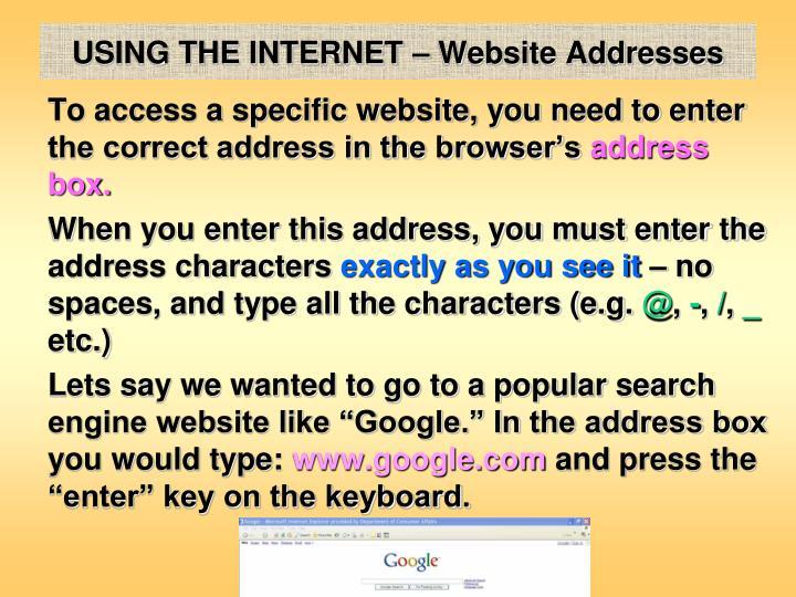 USING THE INTERNET – Website Addresses