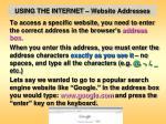 using the internet website addresses1