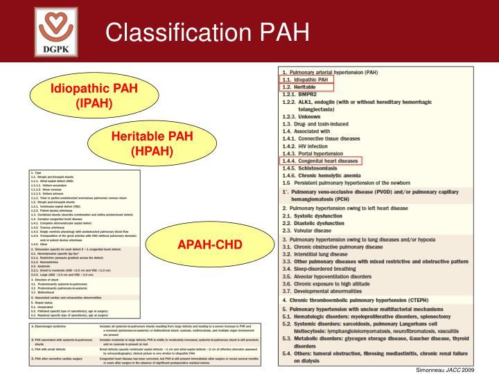 Classification PAH