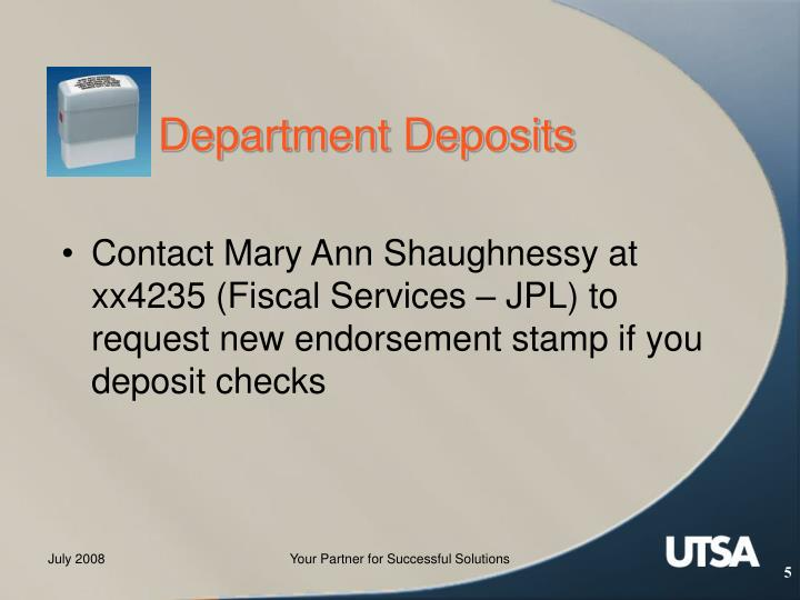 Department Deposits