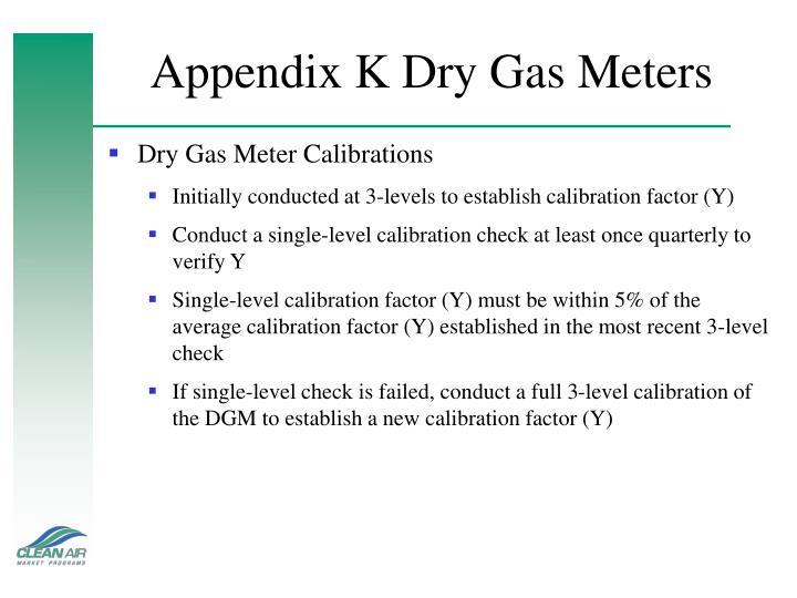 Appendix K Dry Gas Meters