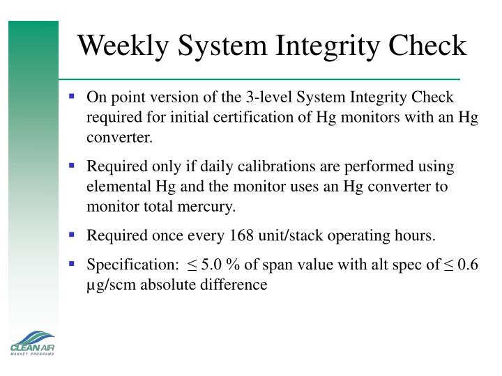 Weekly System Integrity Check