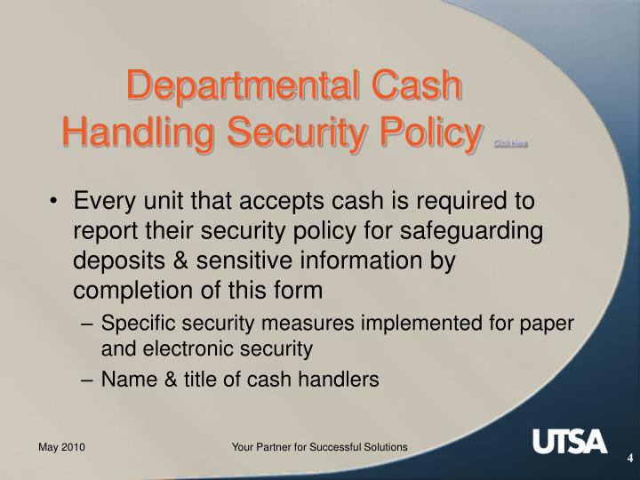 Departmental Cash Handling Security Policy