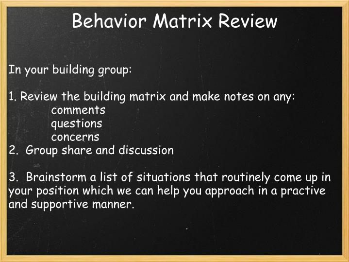 Behavior Matrix Review