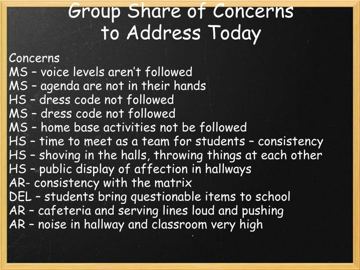 Group Share of Concerns