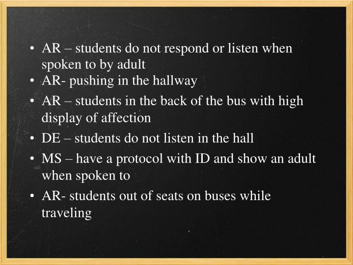 AR – students do not respond or listen when spoken to by adult
