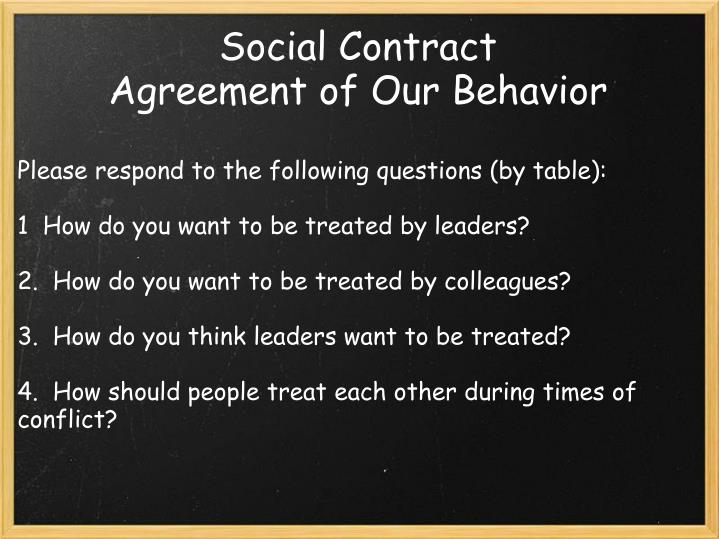 Social contract agreement of our behavior