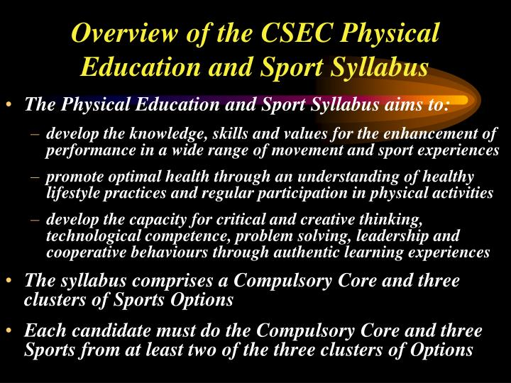 Overview of the CSEC Physical Education and Sport Syllabus