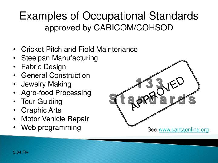 Examples of Occupational Standards