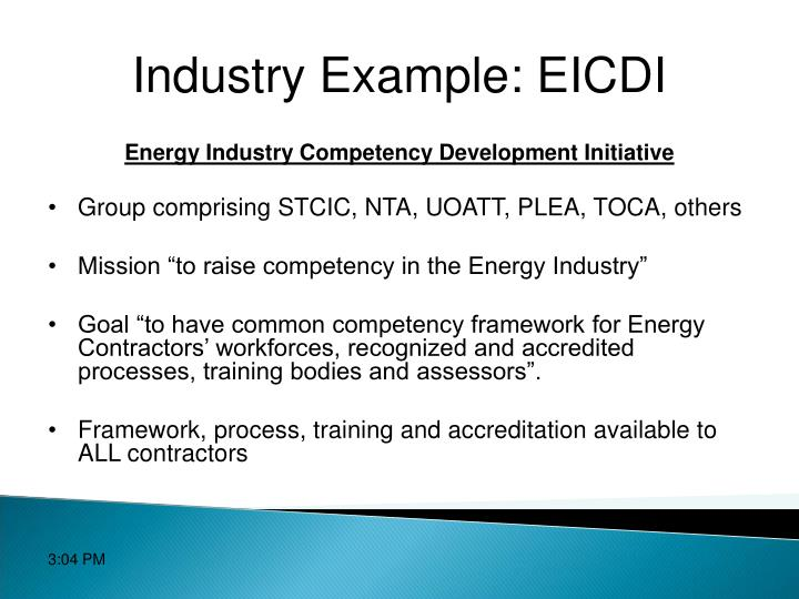 Industry Example: EICDI