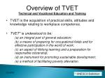 overview of tvet technical and vocational education and training