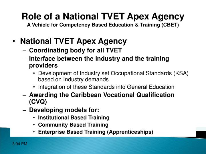 Role of a National TVET Apex Agency
