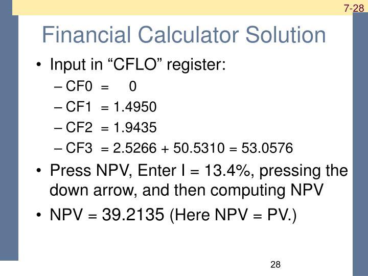 Financial Calculator Solution