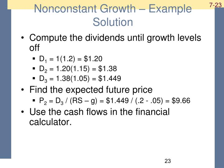 Nonconstant Growth – Example Solution