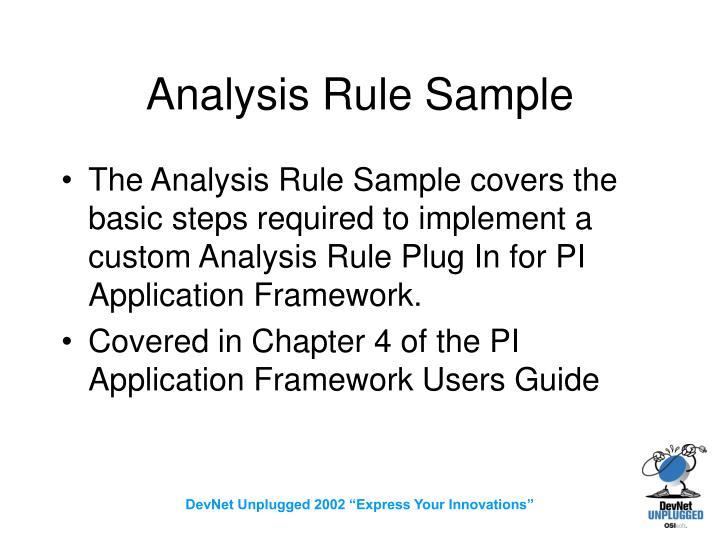 Analysis Rule Sample