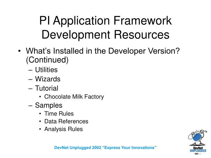 PI Application Framework Development Resources
