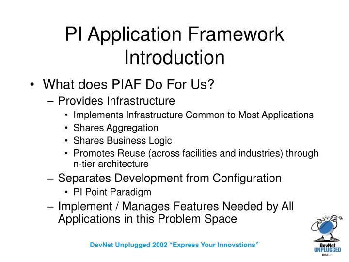 PI Application Framework Introduction