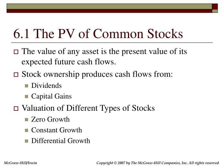 6.1 The PV of Common Stocks