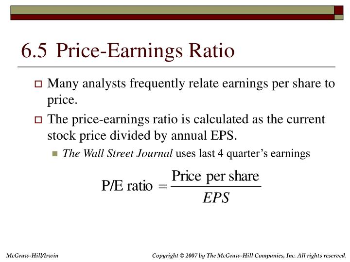 6.5	Price-Earnings Ratio