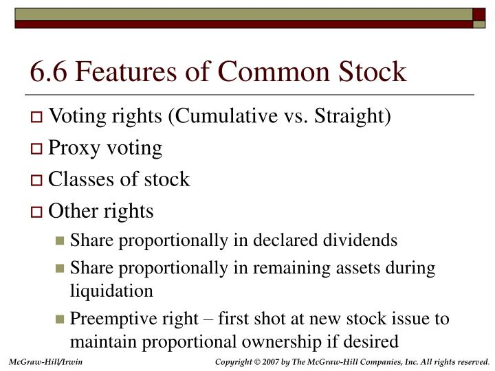 6.6 Features of Common Stock