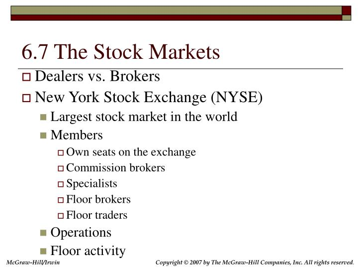 6.7 The Stock Markets