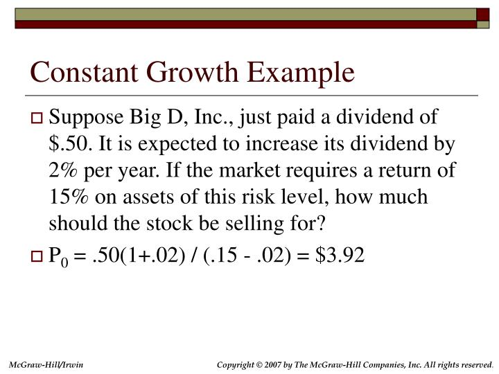 Constant Growth Example