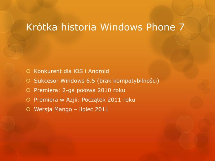 Kr tka historia windows phone 7