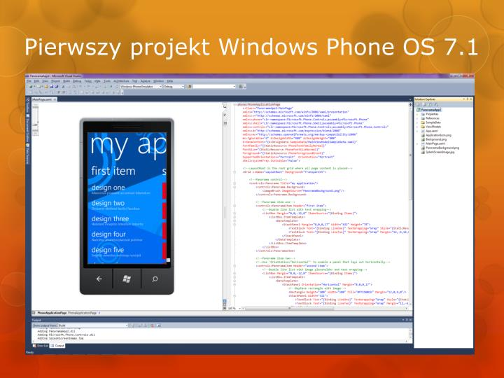 Pierwszy projekt Windows Phone OS 7.1
