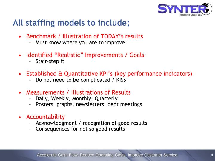 All staffing models to include;